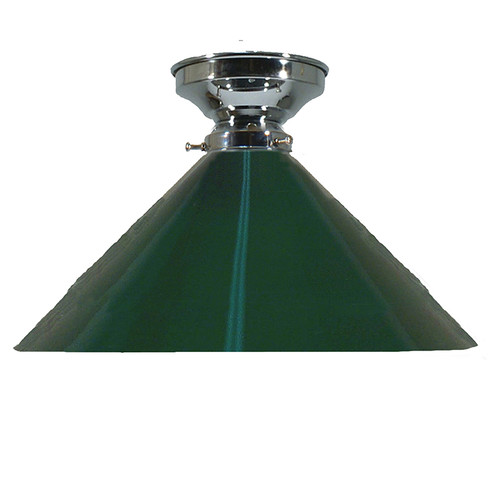 Industrial Chrome Green Close to Ceiling Light
