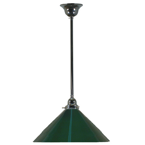 Industrial Chrome Green Pendant Light