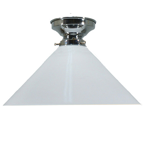 Industrial Chrome White Close to Ceiling Light