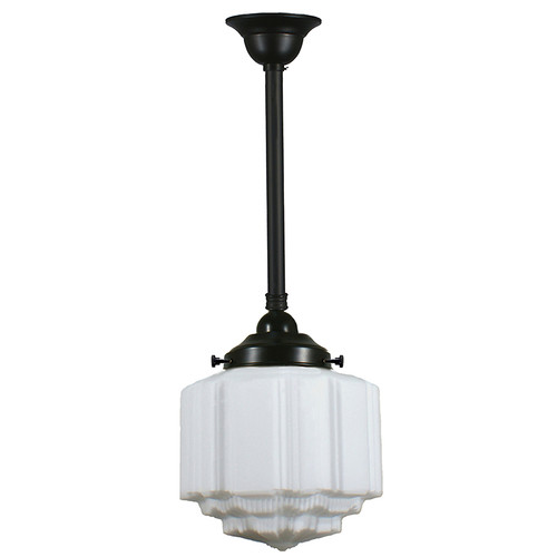 St Kilda Black Rod Opal Matt Pendant Light - Small