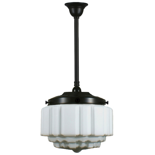 St Kilda Black Rod Opal Matt Pendant Light - Large
