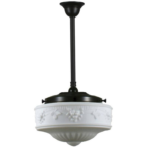 Senator Medium Black Rod Opal Matt Pendant Light