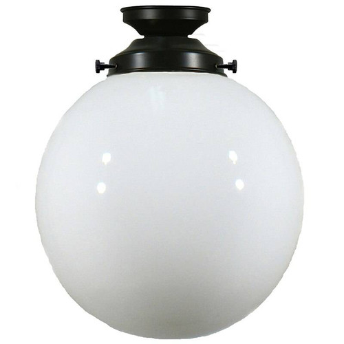 Sphere Black Patina Opal Glass Close to Ceiling Light