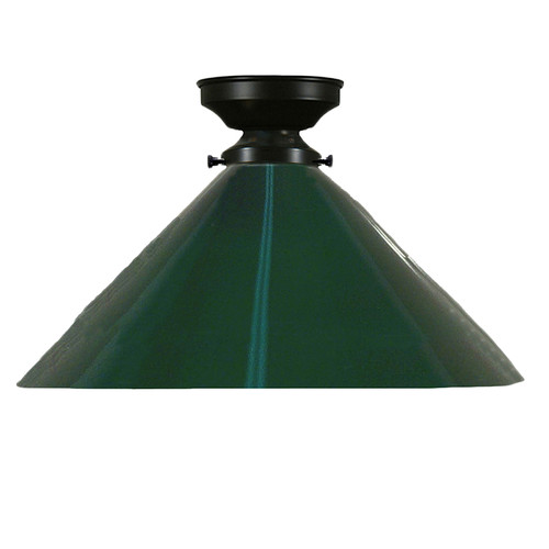 Industrial Black Green Close to Ceiling Light