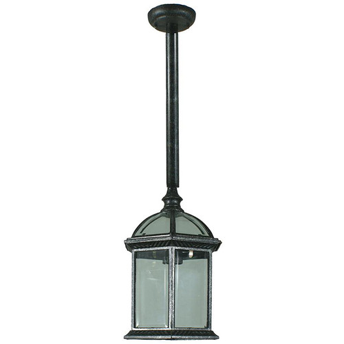 Station Exterior Antique Black Rod Pendant Light