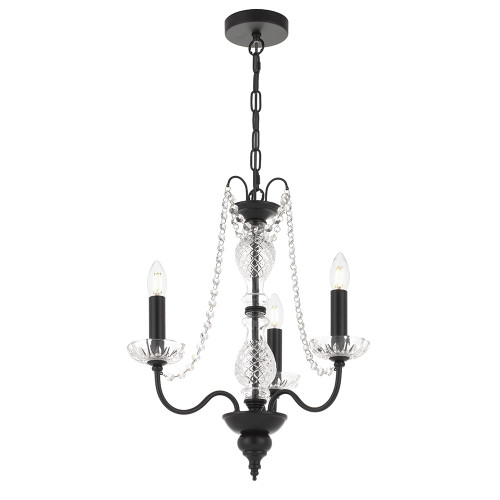 Rennes 3 Light Crystal Black Pendant Chandelier