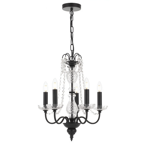 Rennes 5 Light Crystal Black Pendant Chandelier