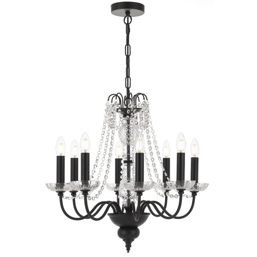 Rennes 8 Light Crystal Black Pendant Chandelier