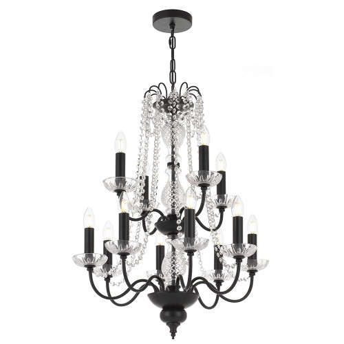 Rennes 12 Light Crystal Black Pendant Chandelier