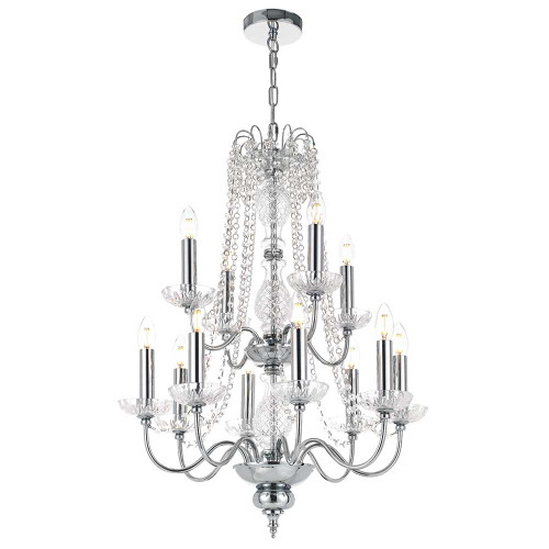 Rennes 12 Light Crystal Chrome Pendant Chandelier