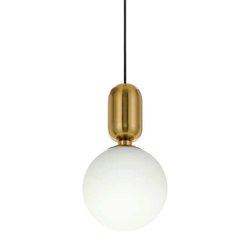 Torcia Round Opal Gold Pendant Light