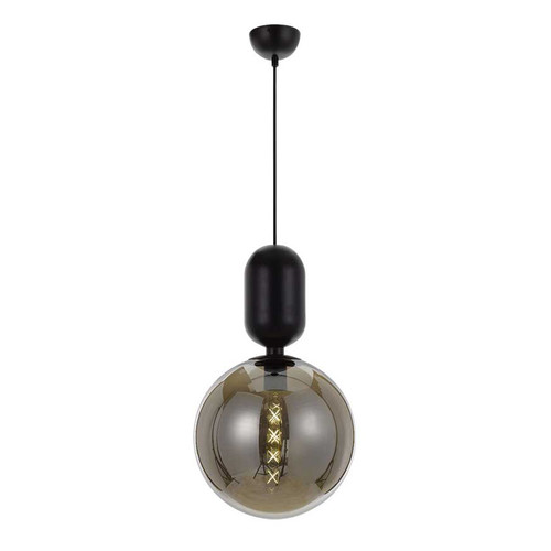 Torcia Round Black Smoke Pendant Light