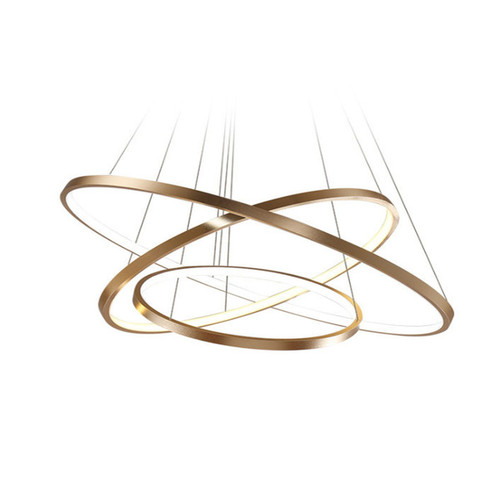 Planetary Rings Brushed Gold LED Pendant Chandelier