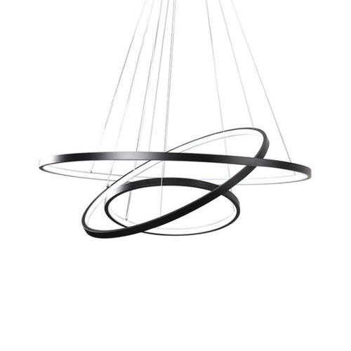 Planetary Rings Matt Black LED Pendant Chandelier