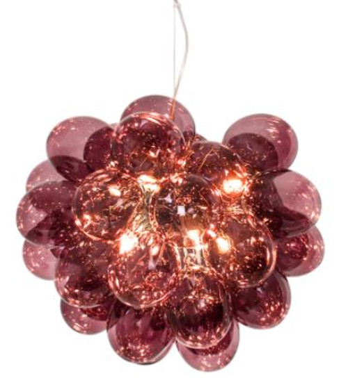 Gross Dark Red Glass Beads Modern Pendant Light