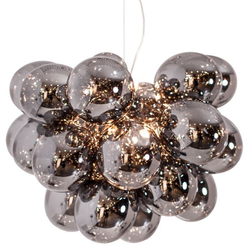 Gross Grande Smoke Glass Beads Modern Pendant Chandelier