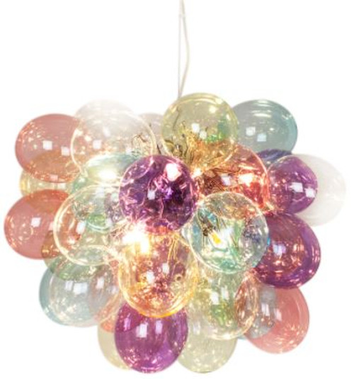 Gross Multi Coloured Glass Beads Modern Pendant Chandelier Large