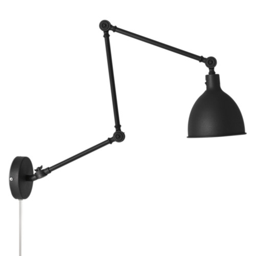 Bazar Black Adjustable Arm Industrial Wall Light - Large