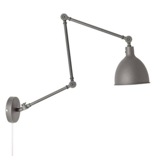 Bazar Grey Adjustable Arm Industrial Wall Light - Large