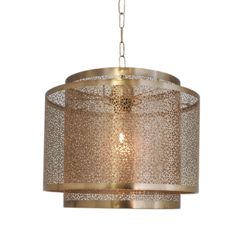 Hermine Cylindrical Matt Brass Moroccan Pendant Light