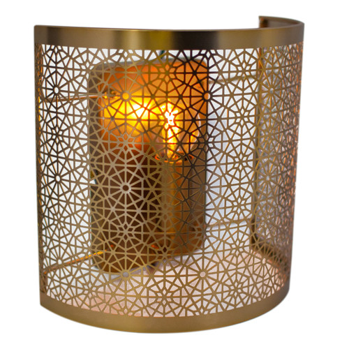 Hermine Cylindrical Matt Brass Moroccan Wall Light