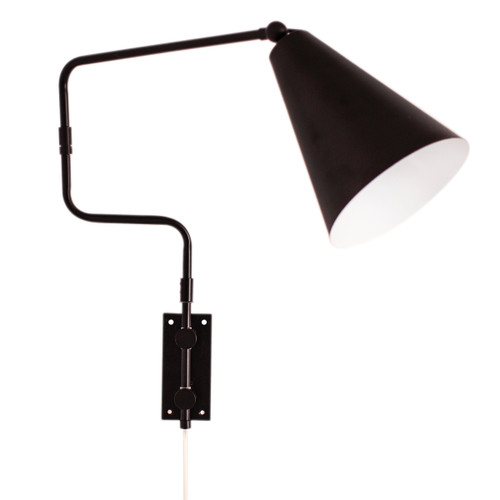 Yukon Cone Minimalist Black Wall Light