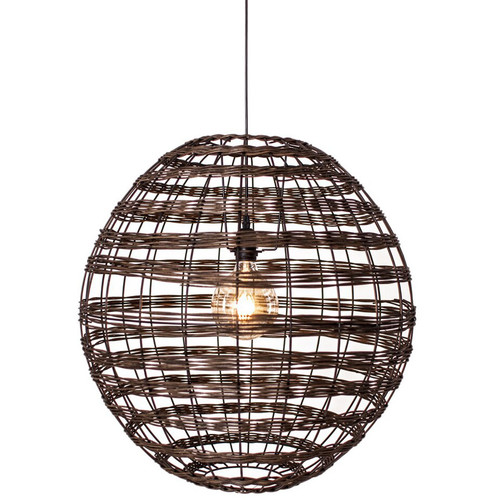 Broom Woven Rattan Pendant Light - Coffee Brown