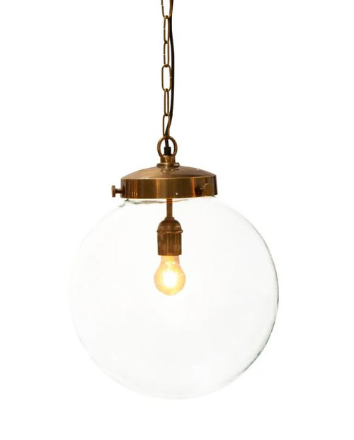 Celeste Round Glass Antique Brass Pendant Light Large