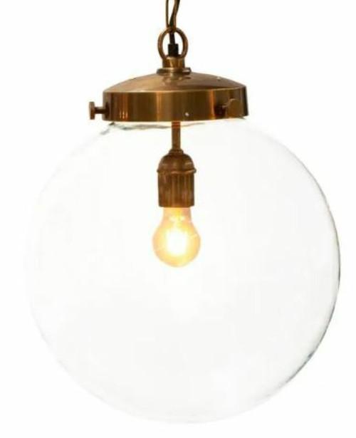 Celeste Round Glass Antique Brass Pendant Light Large