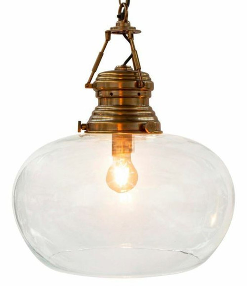Paddington Glass Antique Brass Pendant Light