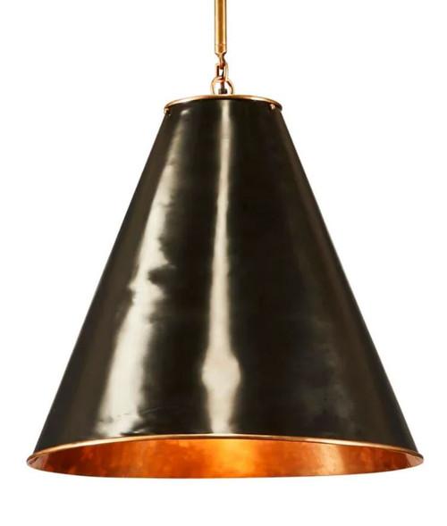 Casino Cone Black Brass Pendant Light