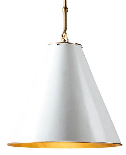 Casino Cone White Brass Pendant Light