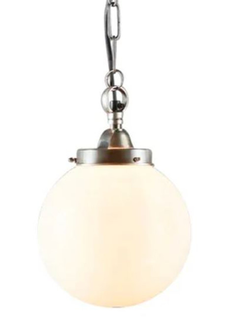 Celeste Round Opal Glass Antique Brass Pendant Light