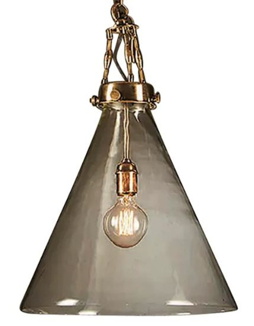 Greyson Cone Glass Brass Pendant Light - Large