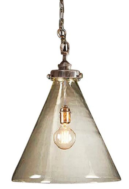 Greyson Cone Glass Silver Pendant Light - Medium