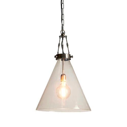 Greyson Cone Glass Silver Pendant Light