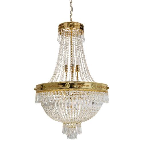 Empiro 8 Light Gold Crystal Chandelier