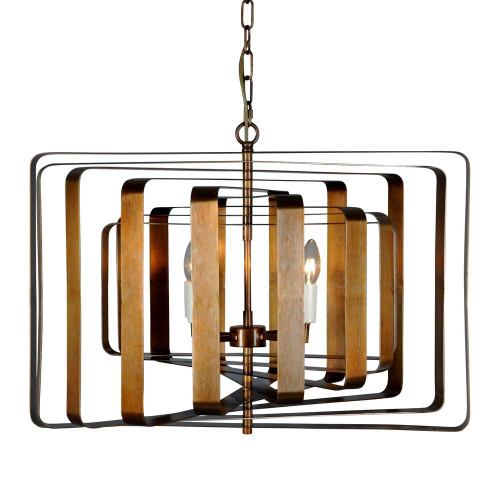 Braxton 4 Light Spinning Brass Pendant Light