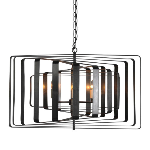 Braxton 6 Light Spinning Black Pendant Light