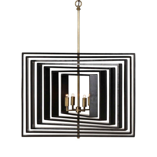 Braxton 4 Light Spinning Black Pendant Light