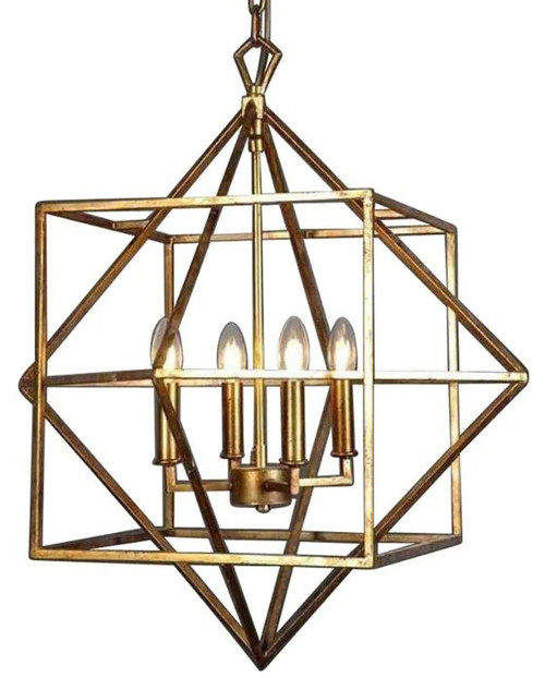 Brayden Geometric Brass Pendant Light