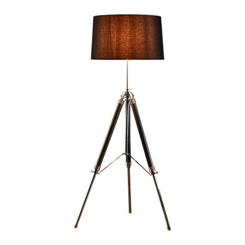 Gaven Nickel and Charcoal Adjustable Tripod Floor Lamp