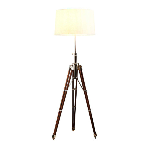 Gaven Nickel and Natural Adjustable Tripod Floor Lamp