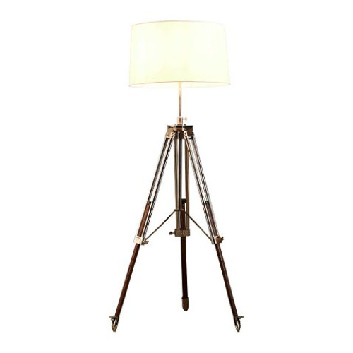 Liam Brushed Nickel Ivory Linen Shade Tripod Floor Lamp