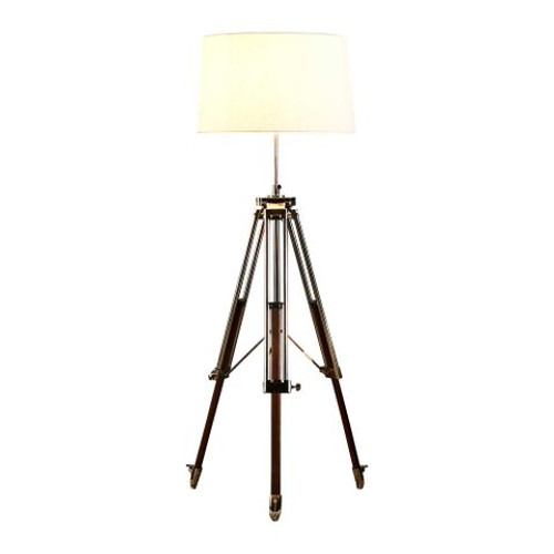 Liam Shiny Nickel Ivory Linen Shade Tripod Floor Lamp