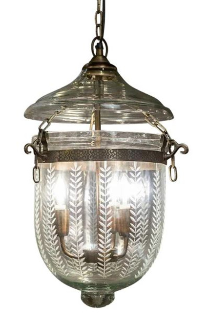 Laurel Leaf Glass Jar Pendant Light - Large