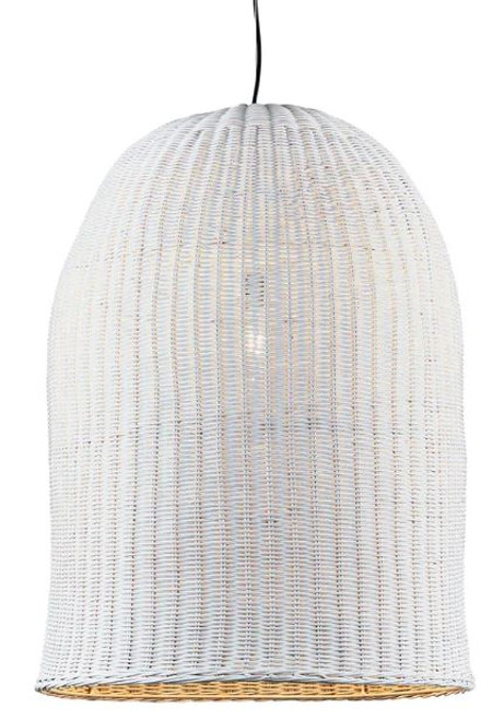 Toucans White Rattan Basket Pendant Light- Large
