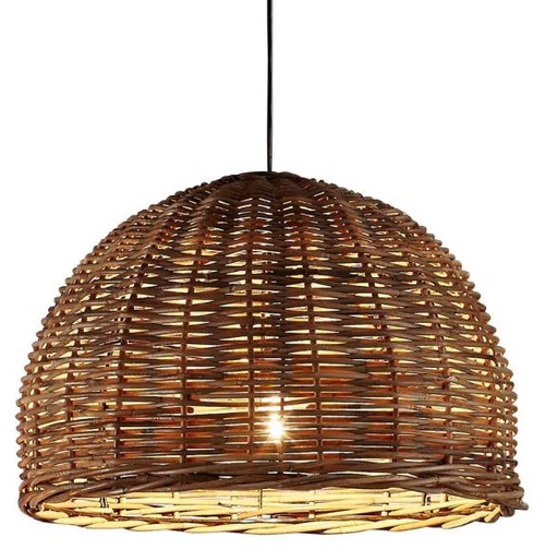 Nairobi Brown Dome Rattan Pendant Light - Large