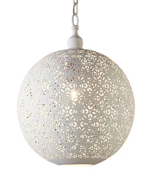 Ivory Iron Round Ball Pendant Light