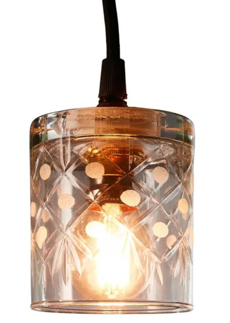 Ambrose Circle Diamond Hand Cut Glass Pendant Light